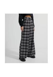 Calça Pantalona Em Flanela Xadrez Com Elástico Nas Costas | Blue Steel | Preto | P