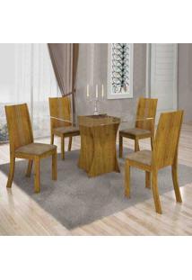 Conjunto De Mesa Com 4 Cadeiras Vitória Suede Canela E Capuccino
