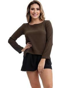 Blusa Clara Arruda Bicolor 20321 - Feminino-Verde Militar