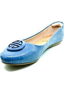 Sapatilha Dani K Bico Redondo Confort Feminina - Feminino-Azul