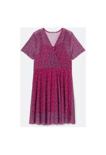 Vestido De Tule Estampado Curve E Plus Size Rosa