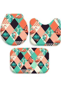 Jogo Tapate Love Decors Para Banheiro Flamingos Geométricos Multicolorido Único - Kanui