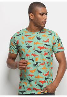 Camiseta Colcci Tubarões Masculina - Masculino-Verde+Laranja