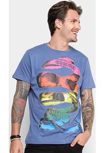 Camiseta Gangster Estampada Masculina - Masculino-Azul Royal+Laranja