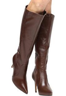 Bota Couro Montaria Shoestock Bico Fino Feminina - Feminino-Marrom