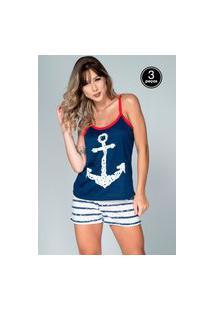 Kit 3 Pijama Feminino Serra E Mar Modas Baby Doll Âncora Azul Marinho