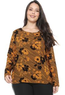 Blusa Cativa Plus Floral Amarela