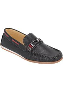 Dockside Galway Couro Floter Masculino - Masculino-Preto
