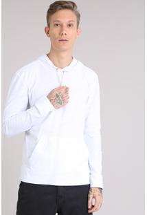 Camiseta Masculina Básica Flamê Com Capuz Manga Longa Em Algodão + Sustentável Branca