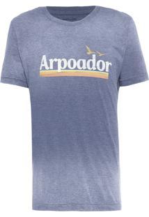 Camiseta Masculina Over Colored Arpoador Vintage - Azul