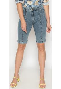Bermuda Jeans Com Recortes- Azul- Sisalsisal