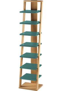Prateleira Stairway Estrutura Natural Acabamento Verde Agua 170Cm - 61112 - Sun House