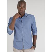Camisa Masculina Comfort Estampada De Poá Manga Longa Azul 19a7ab0e954
