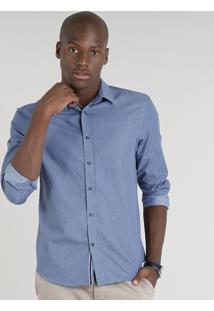 Camisa Masculina Comfort Estampada De Poá Manga Longa Azul
