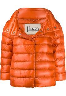Herno Cropped Quilted Puffer Jacket - Laranja