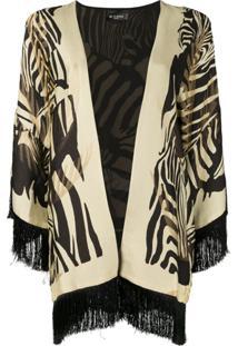 Etro Zebra-Print Fringed Jacket - Preto