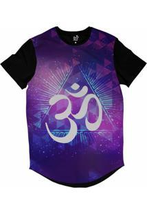 Camiseta Longline Long Beach Ohm Triângulos Sublimada Roxo