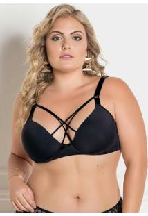 Sutiã Strappy Plus Size Preto Christian Gray