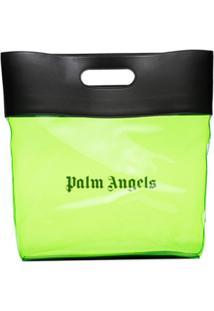 Palm Angels Bolsa Tote Transparente Com Logo - Verde