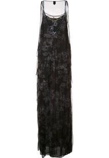 Vera Wang Vestido De Seda Com Aplicação De Cristais - Preto