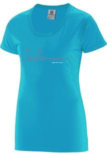 Camiseta Salomon Time To Play Tee Feminino M Azul