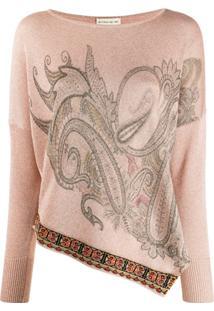 Etro Blusa De Tricô Com Padronagem Paisley - Rosa