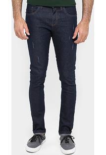 Calça Local Slim Fit Escura Puídos - Masculino