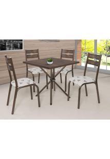 Conjunto De Mesa Quadrada Com Tampo De Madeira E 4 Cadeiras Maria Siena Móveis Bronze/Bege