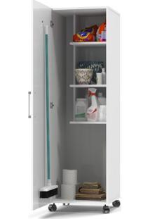 Armário Multiso / Organizador Lavanderia Jasmin 1 Porta Com Porta Vassoura - Branco