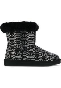 Philipp Plein Crystal Plein Ankle Boots - Preto