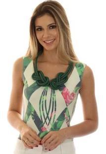 Regata Ficalinda Decote Redondo Feminina - Feminino-Bege+Verde