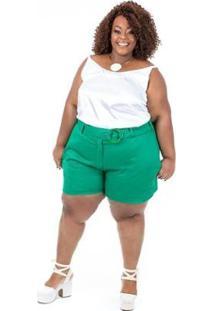 Blusa Plus Size Brio Cetim Feminina - Feminino-Branco