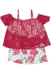 Conjunto De Blusa + Short Floral - Pink & Azul Claroluluzinha