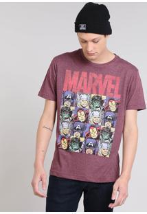 Camiseta Masculina Os Vingadores Manga Curta Gola Careca Vinho
