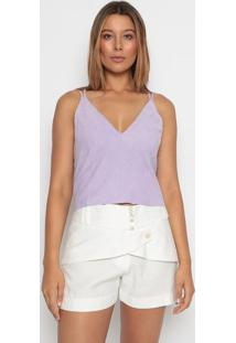 Blusa Cropped Lisa - Lilás - Aboutabout