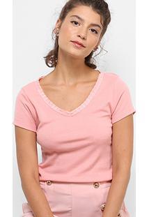 Camiseta Drezzup Gola V Feminina - Feminino-Salmão