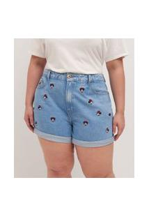 Short Jeans Com Bordados Minnie Curve & Plus Size | Ashua Curve E Plus Size | Azul | 46