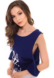 Camiseta Daniela Cristina Tee Long Manga Aberta Feminina - Feminino-Azul