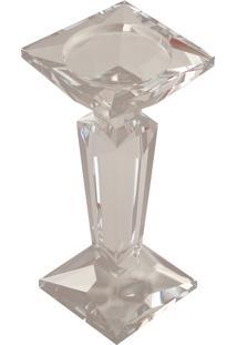Castiçal De Cristal Genova Médio Para 1 Vela