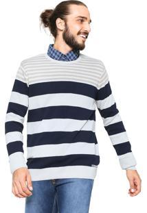 Suéter Handbook Tricot Listrado Bege/Azul-Marinho