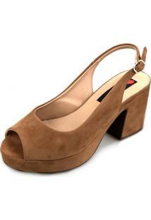 Sandália Love Shoes Salto Bloco Meia-Pata Nobuck Caramelo