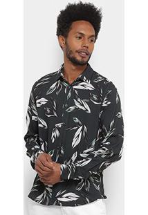 Camisa Manga Longa Colcci Relax Masculina - Masculino-Verde+Branco