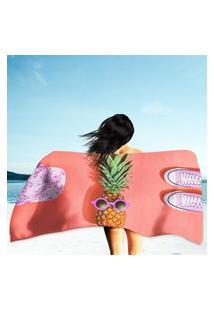 Toalha De Praia / Banho Abacaxi Laranja Único