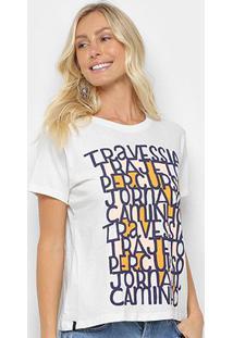 Camiseta Cantão Slim Tipos Feminina - Feminino-Off White