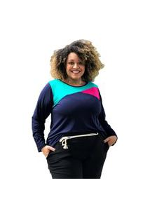 Blusa Bata Manga Longa Bicolor Plus Size Modaliss