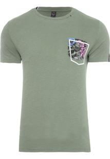 Camiseta Masculina Bolso Estampado - Verde