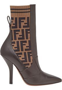 Fendi Ankle Boot 'Ff' De Couro - Marrom