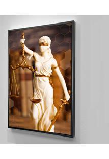 Quadro 60X40Cm Canvas Moldura Filete Mulher Justiça Branca Decorativo Oppen House