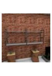 Estante Estilo Industrial Sala Aço Cor Preto 180X30X68Cm (C)X(L)X(A) Cor Mdf Cinza Modelo Ind36Csl