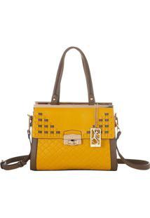 Bolsa Retangular Com Bag Charm - Amarela & Marrom Claro